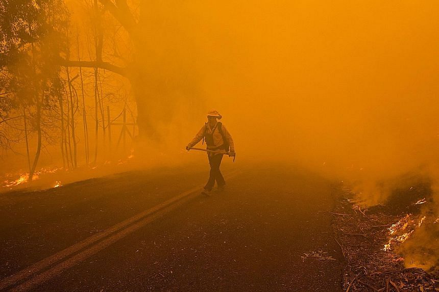 A firefighter emerging from a cloud of smoke while battling the Kincade fire in Healdsburg, California, on Sunday.