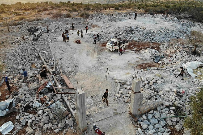 The site near Barisha village in north-western Syria where ISIS leader Abu Bakr al-Baghdadi is said to have blown himself up after being cornered by US special forces. PHOTO: AGENCE FRANCE-PRESSE