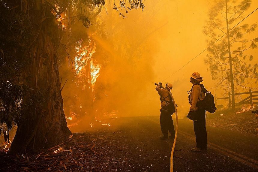 Firefighters battling the Kincade fire in Healdsburg, California, on Sunday. Wildfires spreading throughout the US state have burned thousands of hectares and forced more than 180,000 people to evacuate.
