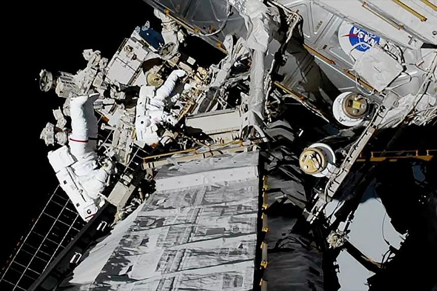 US astronauts Jessica Meir and Christina Koch on the first all-female spacewalk outside the International Space Station on Oct 18. The UN Committee on the Peaceful Uses of Outer Space, which Singapore is set to join, was set up in 1959 to govern the