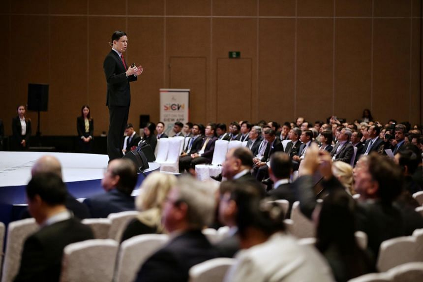 Minister for Trade and Industry Chan Chun Sing speaks during the opening of the Singapore International Energy Week at Sands Expo and Convention Centre on Oct 29, 2019.