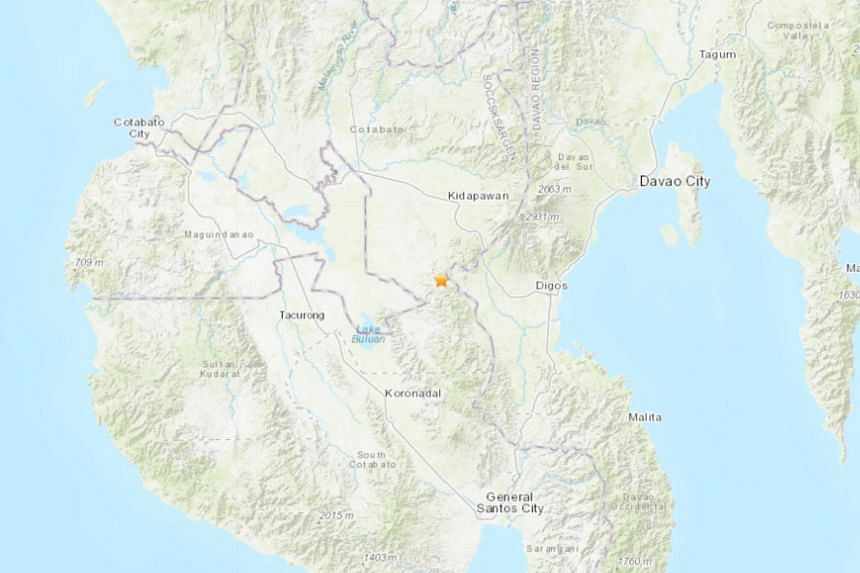 The earthquake struck 58km south-west of Davao in southern Philippines.
