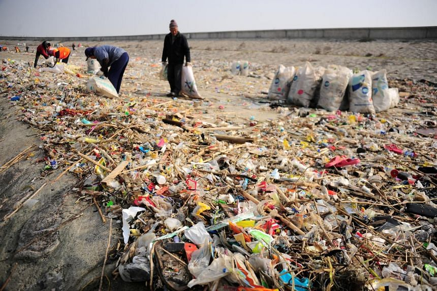 Workers clearing garbage on the banks of the Yangtze River, on Dec 23, 2016. The majority of the waste dumped in 2018 was in the delta regions of the Yangtze and Pearl rivers.