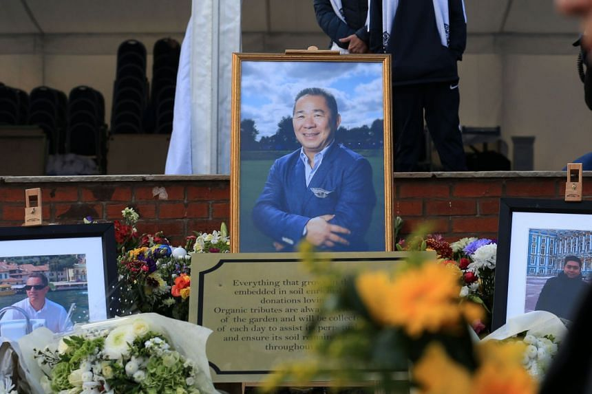 A framed photo of Vichai Srivaddhanaprabha is prominently desplayed within a recently opened memorial garden beside the King Power Stadium in Leicester, central England.