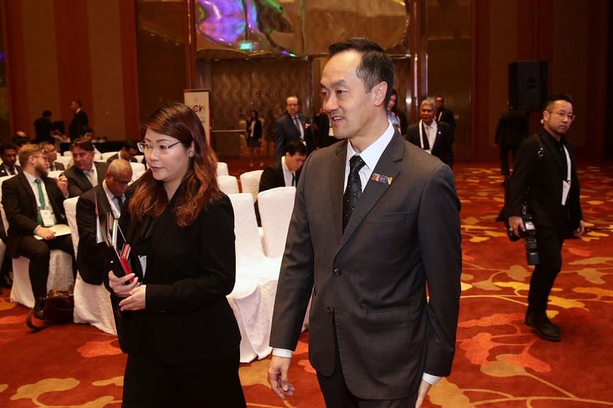 Senior Minister of State for Trade and Industry Koh Poh Koon arriving at the opening of the Singapore International Energy Week.