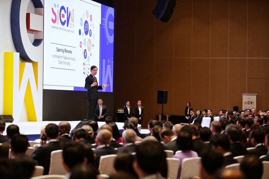 Minister for Trade and Industry Chan Chun Sing speaking at the opening of the Singapore International Energy Week held at the Sands Expo and Convention Centre, on Oct 29, 2019.