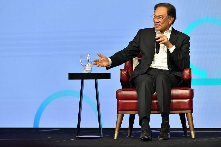 PKR president Anwar Ibrahim speaking during a conference in Singapore on April 26, 2019.