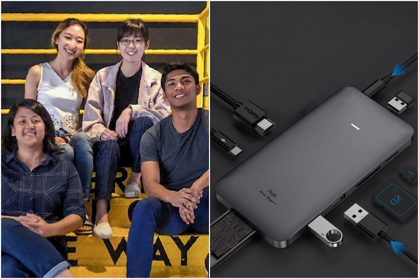 National University of Singapore final-year students (clockwise from top left) Karyn Chen, Helen Tan, Aaron Ramzeen and Fatim Mohrini designed the world's first 7-in-1 USB-C hub with a solid-state drive enclosure.