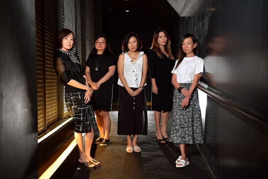 Five of the mothers in advocacy group PleaseStay., including (from left) Ms Jenny Teo, Madam Tan Lay Ping, Ms Valerie Lim, Ms Doreen Kho and Ms Elaine Lek. Ms Teo, Madam Tan, Ms Kho and Ms Lek are also founders of the group.