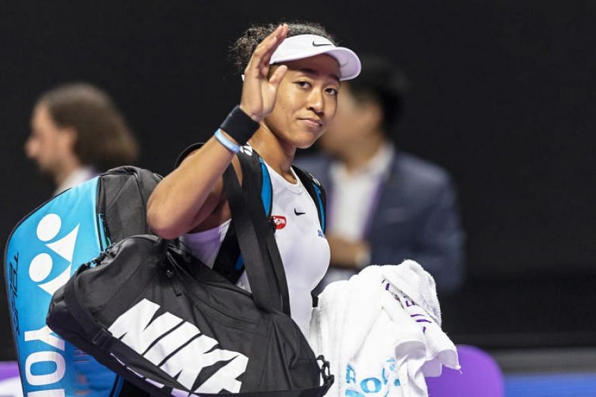 Naomi Osaka leaves the court after a match at the WTA Finals 2019 tennis tournament in Shenzhen, China, on Oct 27, 2019.
