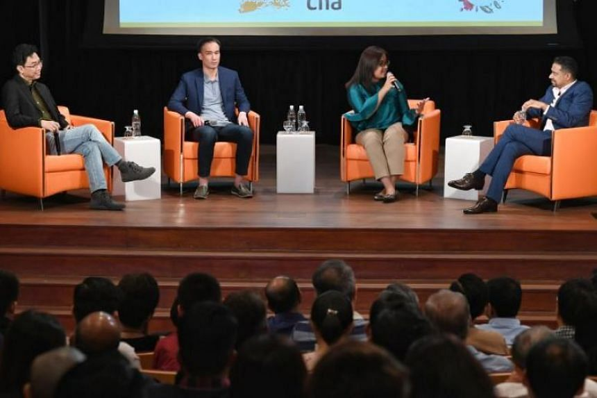 In a photo taken on Sept 29, panellists Adrian Heng, Leonard Lim, Nadia Samdin and David Reddy speak at the second session of Regardless of Race - The Dialogue. The third session of the dialogue will be held on Nov 3, 2019.