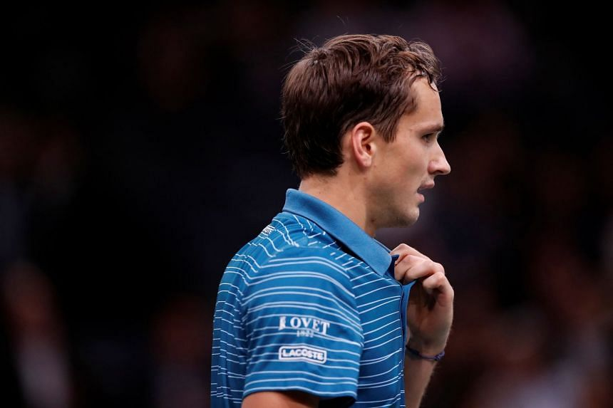 Medvedev during his second round match against France's Jeremy Chardy.