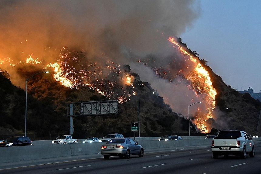 The latest fire broke out near the Getty Centre museum, covering more than 240ha in the scrub-covered hills around Interstate 405.