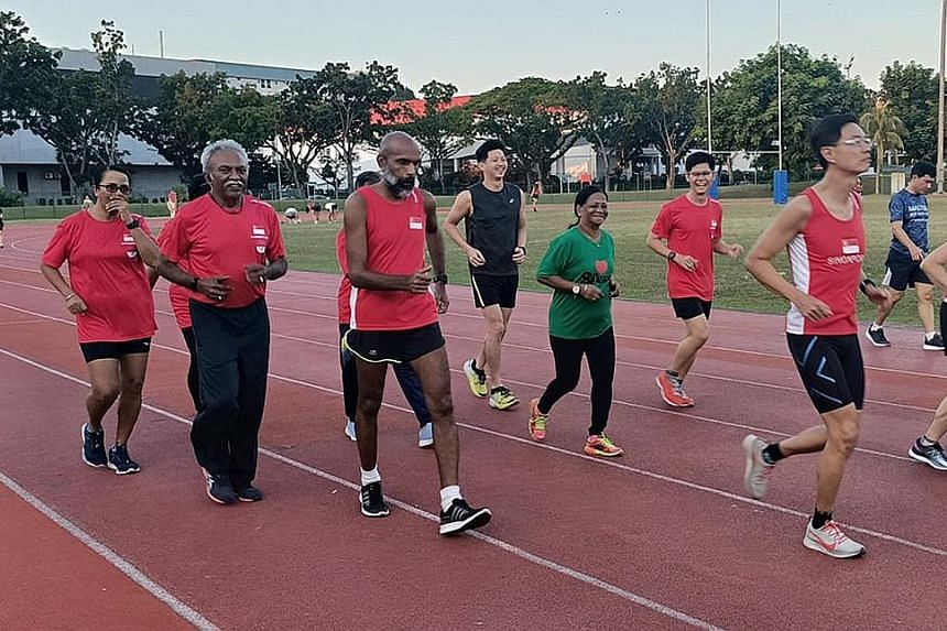Above: SMA deputy president Samuel Veera Singaram says that with the Masters athletics dispute heating up, its lawyers had proposed to SA for the issue to undergo mediation. Left: Singapore Masters Athletics members training at Yio Chu Kang Stadium.