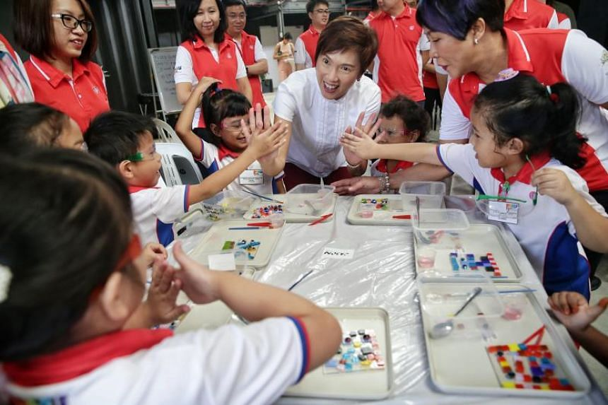 At a PCF Sparkletots event at Goodman Arts Centre, Minister for Manpower Josephine Teo joined over 60 children as they participated in enrichment programmes such as glass and clay art, and a music class.