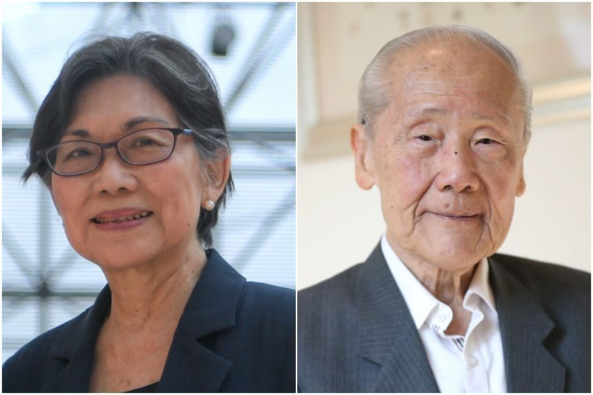 Veteran diplomat Chan Heng Chee (left) will be taking over from Professor Wang Gungwu, who will be retiring as chairman of the ISEAS – Yusof Ishak Institute board of trustees on Oct 31, 2019.