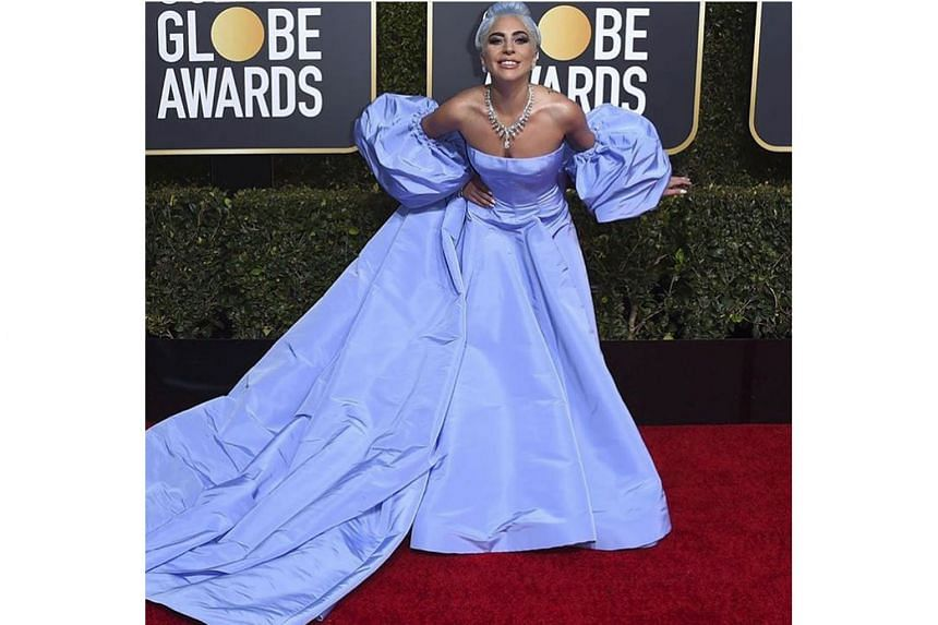 The Valentino gown which singer Lady Gaga wore to the Golden Globes in January.