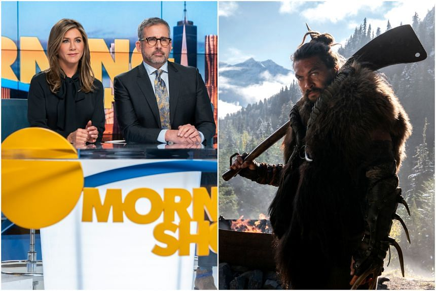 See features Game of Thrones favourite Jason Momoa (right) and Friends sweetheart Jennifer Aniston fronts The Morning Show, a broadcast-news drama.