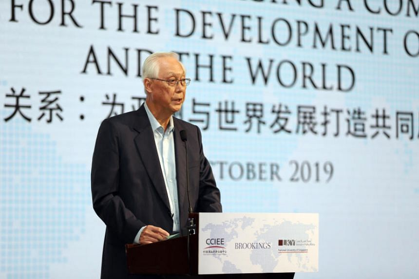 Emeritus Senior Minister Goh Chok Tong speaks at the International Symposium by CCIEE-Brookings-LKYSPP at The St Regis Singapore hotel on Oct 30, 2019.