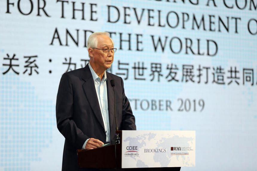 Emeritus Senior Minister Goh Chok Tong speaks at the International Symposium by CCIEE-Brookings-LKYSPP at The St Regis Singapore hotel on Oct 30, 2019.