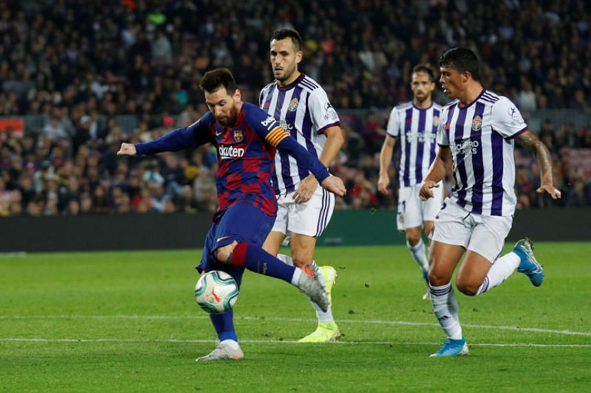 Barcelona's Lionel Messi scores their fourth goal in Barcelona, Spain on Oct 29, 2019.