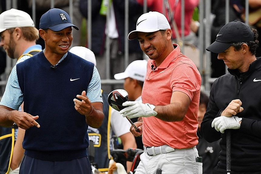 Golf great Tiger Woods, 43, has become a mentor to his younger rivals, like Australian Jason Day, 31, (centre) and Rory McIlroy, 30, of Northern Ireland.
