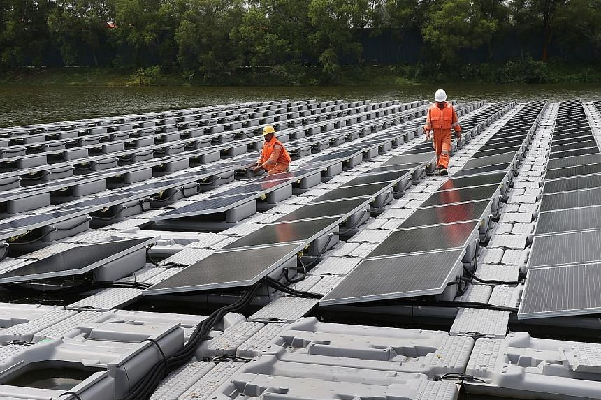 Singapore's solar panel test bed at Tengeh Reservoir in Tuas. In June, PUB said that one of the world's largest single floating solar photovoltaic systems will find a home in the waters of Tengeh Reservoir by 2021.