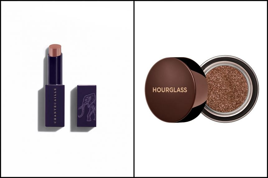 Chantecailles Lip Veil in Tamboti (left) and Hourglass Scattered Light Glitter eyeshadow.