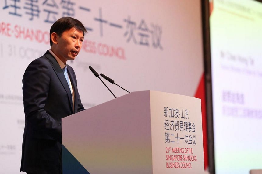 Senior Minister of State for Trade and Industry Chee Hong Tat speaking at the 21st Singapore-Shandong Business Council meeting on Oct 31, 2019.