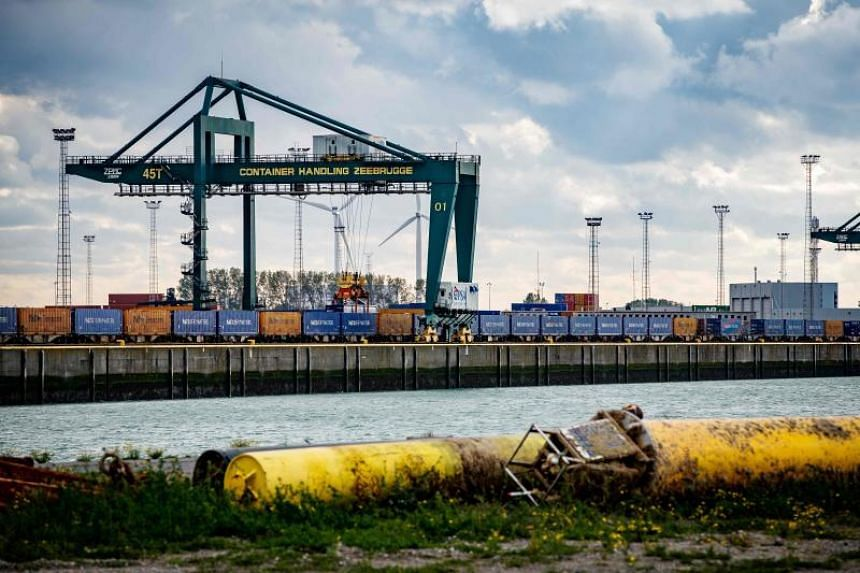 A photo taken on Oct 24, 2019 shows container docks at the harbour of Zeebrugge in Belgium.