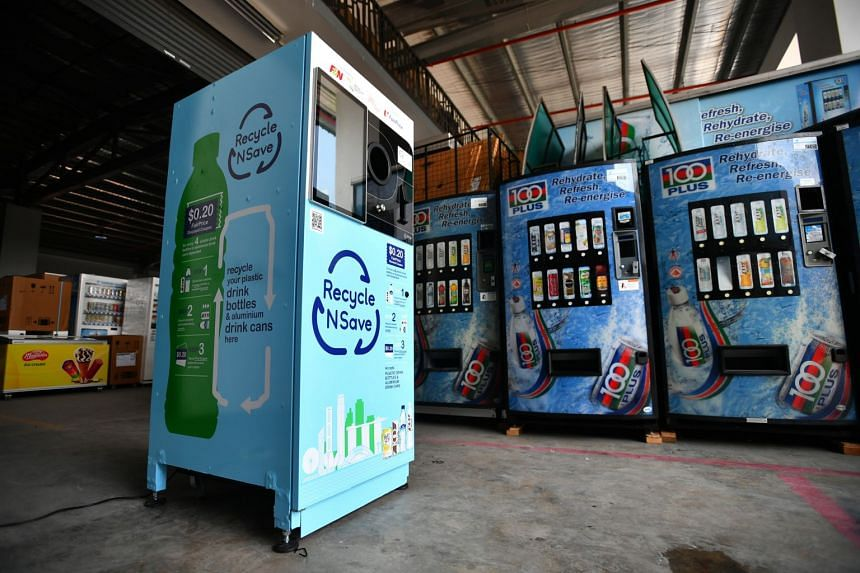 """The """"reverse"""" vending machines - which accept bottles of up to 2 litre capacity - are fitted with a compactor that flattens the drink cans and bottles to save space."""