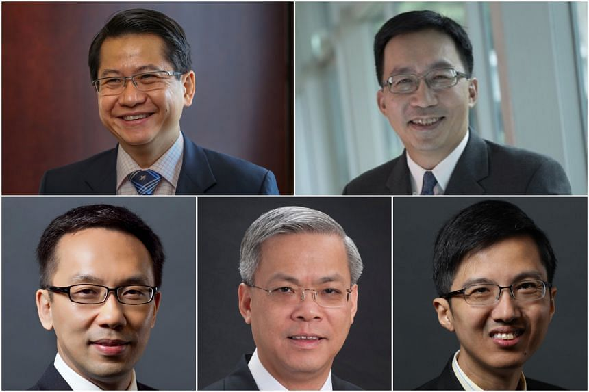 (Clockwise from top left) Mr Stanley Loh Ka Leung, Mr Loh Khum Yean, Mr Ng How Yue, Mr Chan Yeng Kit and Mr Chan Heng Kee, who will assume new Permanent Secretary appointments.