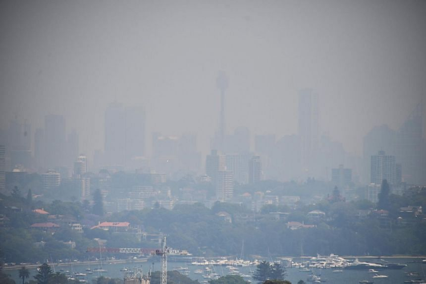 Sydney blanketed in a haze of smoke from wildfires burning hundreds of kilometres north of the city, on Oct 31, 2019.