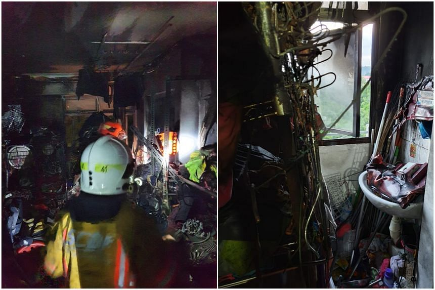 SCDF said the accumulation of items in the kitchen limited the working space for the firefighters and the two men were highly exhausted, making it difficult for them to be pulled to safety.