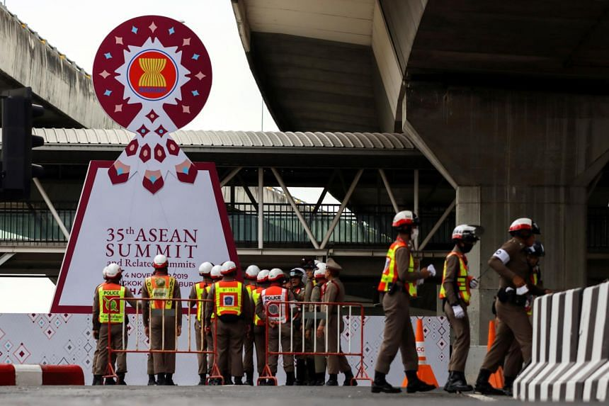 Police officers outside the venue for the upcoming the 35th Asean Summit in Bangkok, Thailand, on Nov 1, 2019.