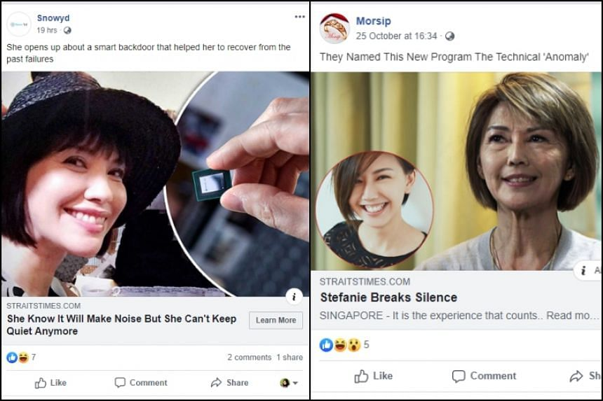 One of the advertisements shows a photo of actress Zoe Tay and an image of someone holding what looks like a microchip. Another uses a doctored picture of Singapore singer Stefanie Sun.