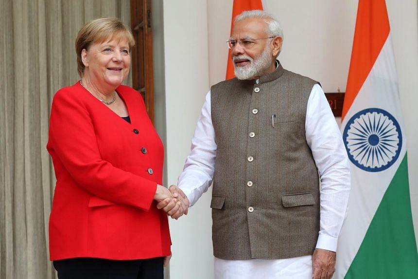 German Chancellor Angela Merkel (left) and Indian Prime Minister Narendra Modi met at Hyderabad House in New Delhi, India, on Nov 1, 2019.