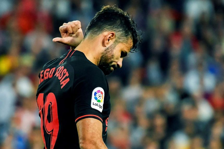 Atletico's Diego Costa reacts during the match.