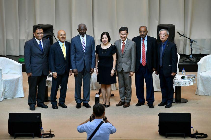 (From left) Dr Mohammad Hannan Hassan; Mr Tay Eng Kiat, General Director of Singapore Soka Association (SSA); Dr. Lawrence Edward Carter Sr.; Mdm Chan Mei Wah, SSA Chairperson; Ambassador Mohammad Alami Musa; Ambassador K Kesavapany; and Mr Michael Y