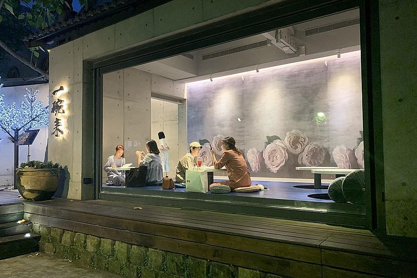 A cafe (above) in Huashan Creative Park, which is located on the grounds of old breweries built during the Japanese colonial era.