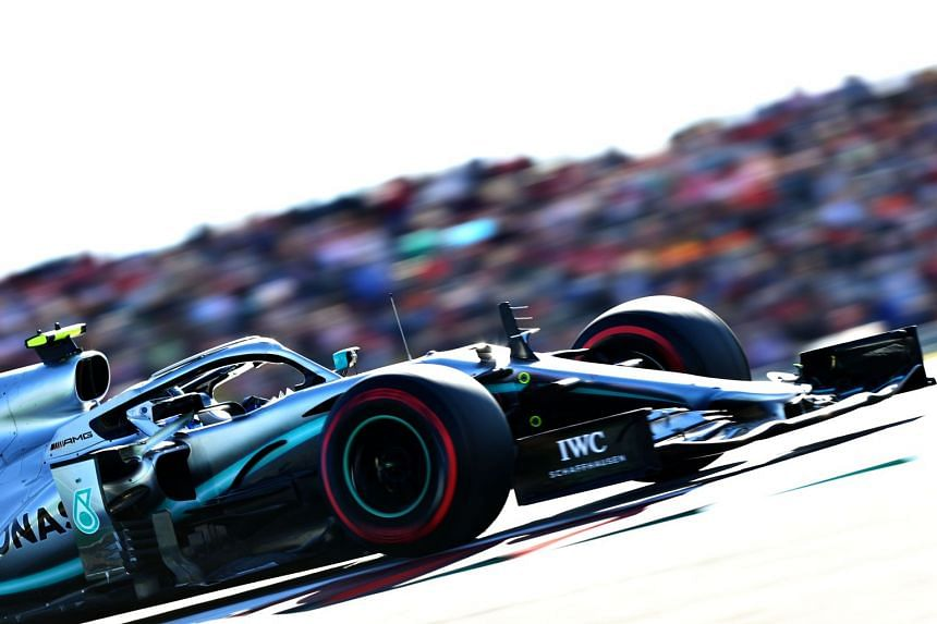 Valtteri Bottas on the track during qualifying for the US grand prix.