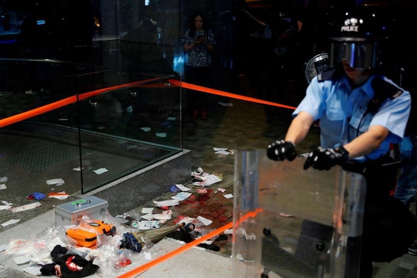 A view of the scene where Andrew Chiu Ka Yin, District Councillor of Taikoo Shing West, was injured in a knife attack during anti-government protests at a shopping mall in Hong Kong on Nov 3, 2019.