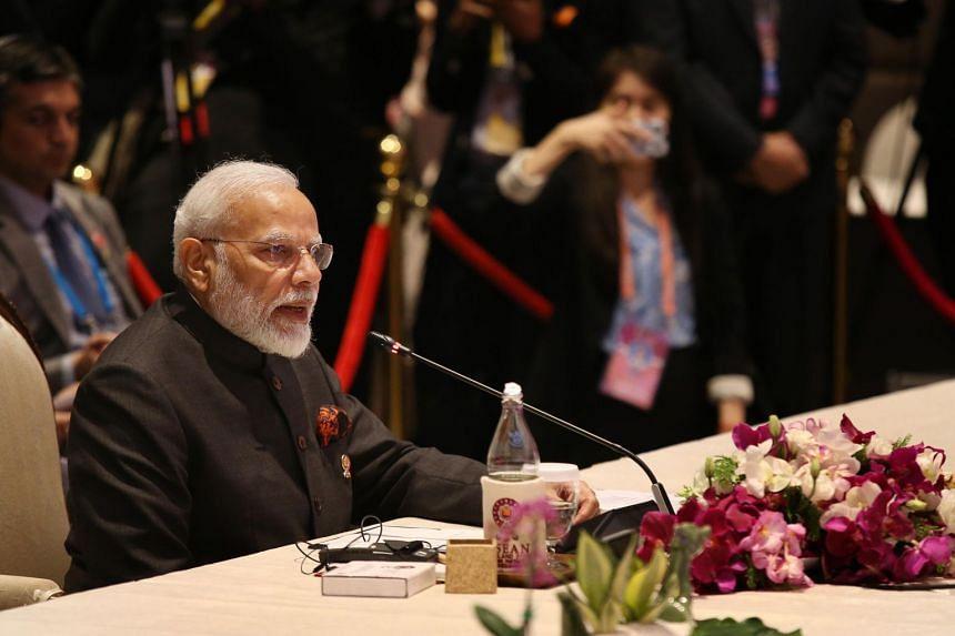 Indian Prime Minister Narendra Modi speaks at the 16th ASEAN-India Summit in Bangkok on Nov 3, 2019.