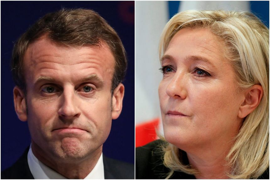 In every scenario, far-right leader Marine Le Pen (right) and President Emmanuel Macron would be the top two in the multi-candidate fields.
