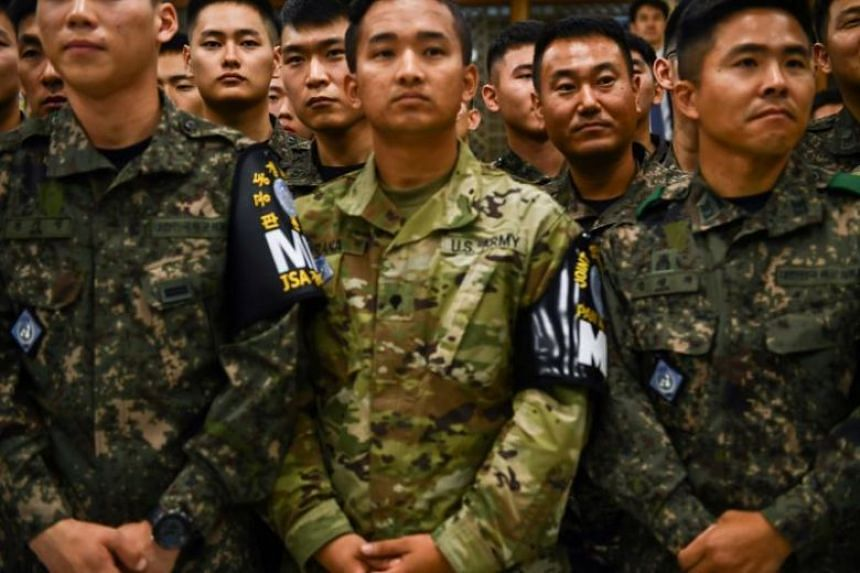 US and South Korean military personnel in attendance during a visit by US President Donald Trump and South Korean President Moon Jae-in do the Joint Security Area on June 30, 2019.