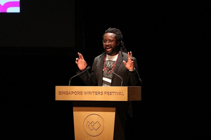 Jamaican author Marlon James giving the prologue for the Singapore Writer's Festival on Nov 3, 2019, at Victoria Theatre.