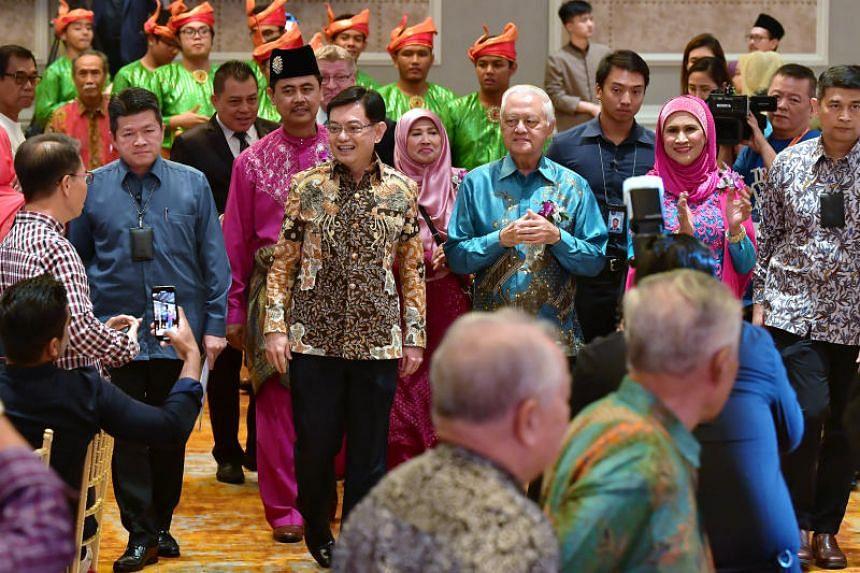 Deputy Prime Minister Heng Swee Keat at a reunion for alumni and former teachers of Sang Nila Utama Secondary School and Tun Seri Lanang Secondary School on Nov 3, 2019.