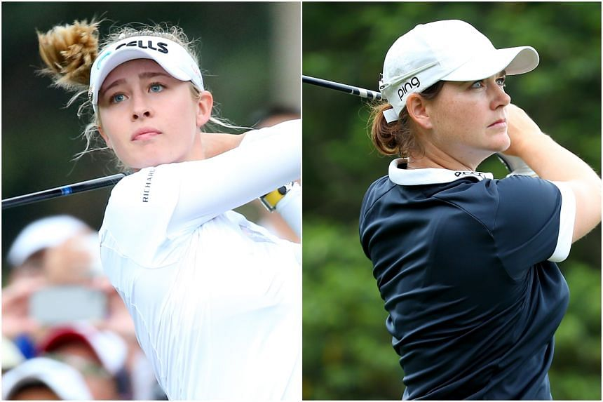Nelly Korda (left) won the Taiwan Swinging Skirts LPGA in a three-way play-off against Caroline Masson (right) and Minjee Lee.