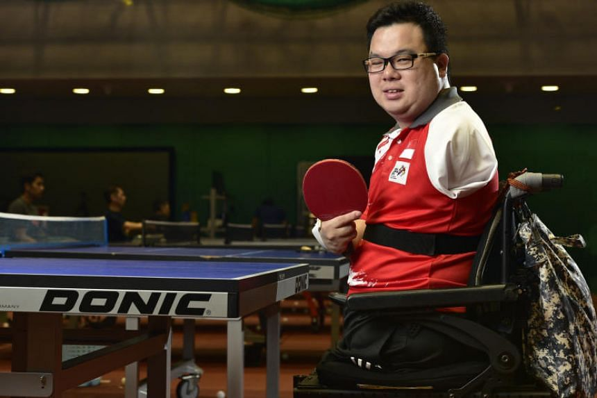 In a picture taken on Feb 5, 2018, table tennis player Jason Chee takes a break during a training session.