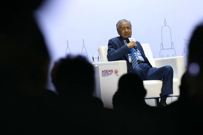 Malaysia's Prime Minister Mahathir Mohamad giving his keynote address at the Asean Business and Investment Summit 2019 in Thailand on Nov 2, 2019.
